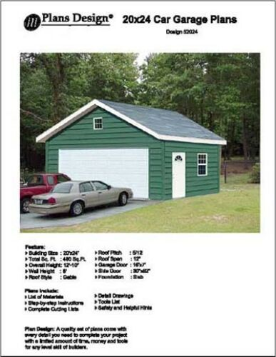 20/' X 24/' Car Garage Project Plans Design #52024 Material List Included