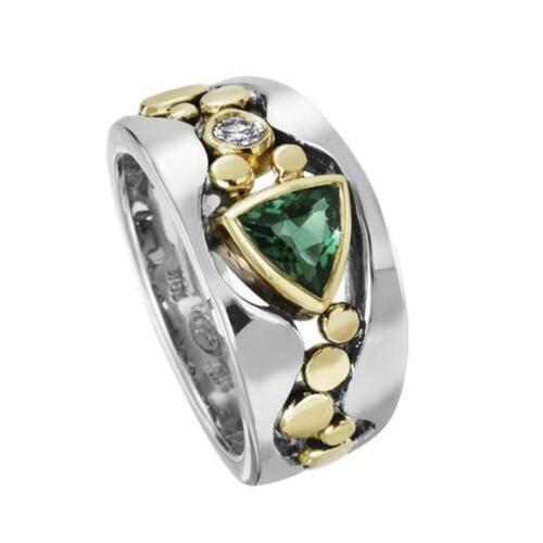 Elegante zweifarbige Silberringe für Frauen Blue Sapphire Ring Party Lady M7K0