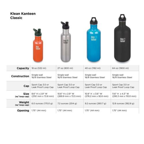 532 ML Klean Kanteen Unisex Outdoor Classic Water Bottle available in Silver