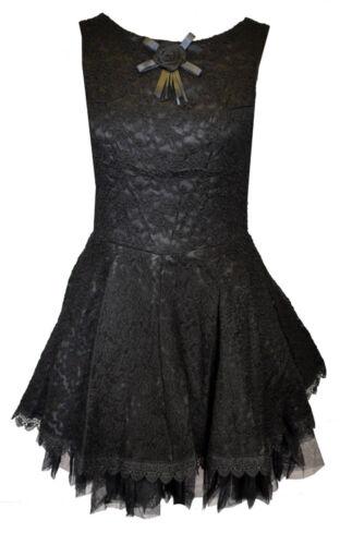 Talla 18 Dark Star vestido negro sin mangas con Diseño Rosa