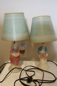 Pair-of-Vintage-Boudoir-Lamps-Colonial-Man-amp-Woman-Original-Shades-1950s