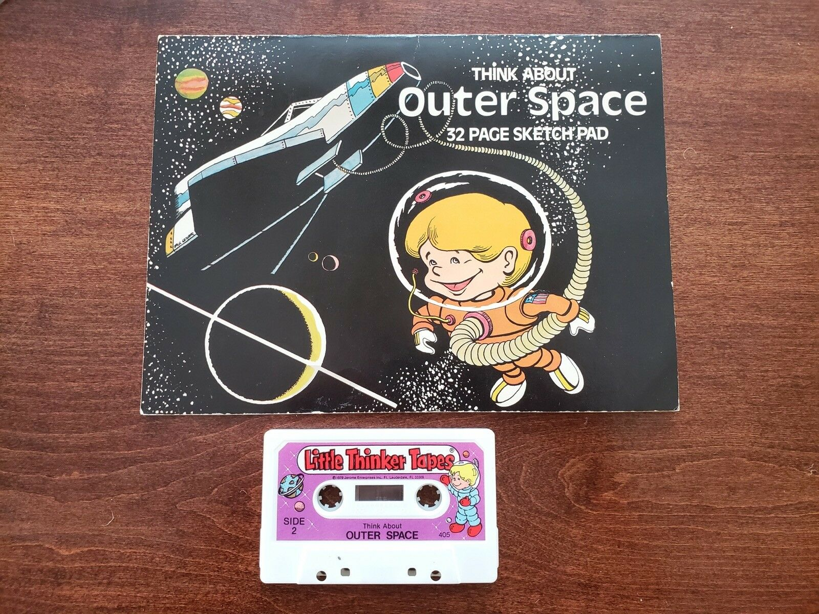 Rare Little Thinker Tapes Think About Outer Space with 32 Page Blank Sketch Pad