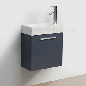 Vanity Sink 20 Small Narrow Short GRAY Modern Bathroom Cabinet Wall Hun