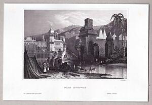 Haridwar-India-Tempelanlage-Original-Stahlstich-1850