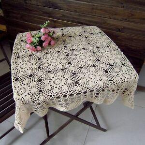 New cotton tablecloth vintage crochet table cover square - Crochet mural vintage ...