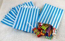 "100 Light Blue & White Candy Stripe Paper Sweet Bags Wedding 5""X 7"" Pick 'n' Mix"