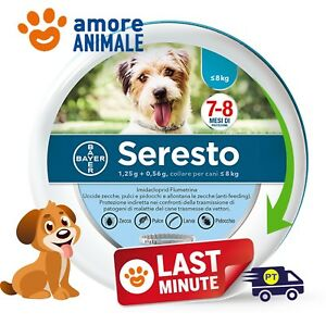 Seresto-Bayer-Collare-Antiparassitario-per-Cane-cani-fino-8-kg-NEW-No-Scatola