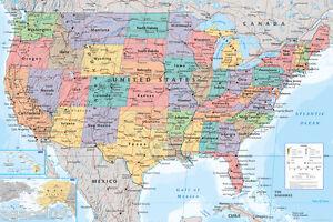 Immagini Cartina Stati Uniti.Mappa Degli Stati Uniti Stati Uniti D America Maxi Taglia 91 5x61cm Poster Istruzione Aiuto Ebay