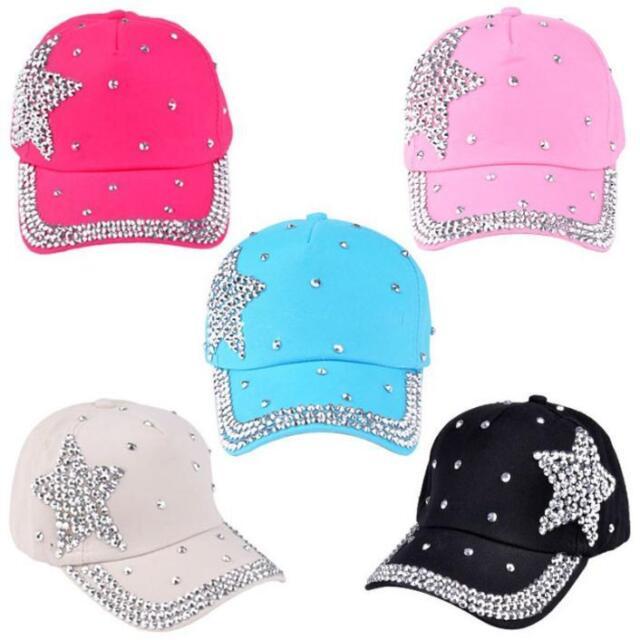 Cute Fashion Baseball Cap Rhinestone Star Shaped Boy Girls Snapback Hat