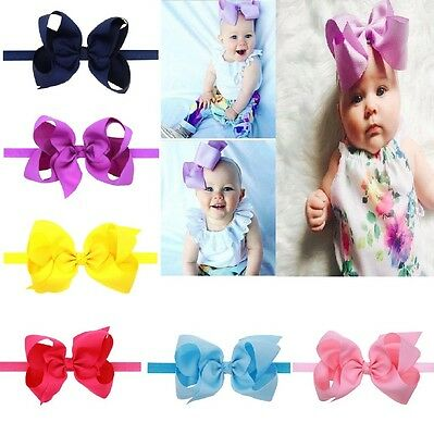 "Vendita Economica 6 ""baby Fiocchi Boutique Hairband Soft Knot Band Clip Nastro Di Seta Grossa Fiocco Girl Uk-"