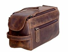 6c15197ce2d6 Komalc Genuine Buffalo Leather Unisex Toiletry Bag Travel Dopp Kit Backpacks