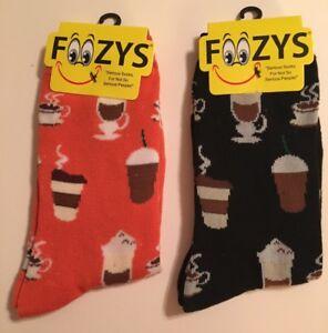 55818b77b608 2 Pairs COFFEE TIME Foozys Novelty Fun Socks Womens Girls Ladies Sox ...