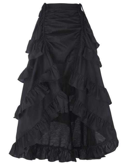 Vintage Stil Damen Steampunk Kleidung Partykleidung Punk Goth Schwarz Rock Kleid