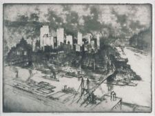 Art Print Etching GOLDEN TRIANGLE PITTSBURGH Impressionism Joseph Pennell