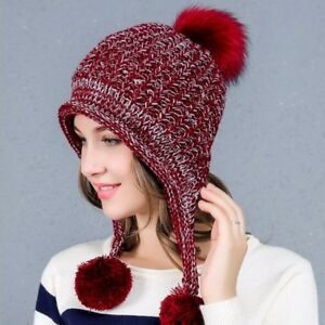 Beanie Cap Hat Warm Women Winter Hat with Ear Flaps Vintage Thick ... e56b4199d47
