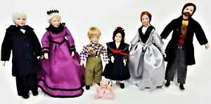 Melody Jane Dolls House Victorian Lady in Red Coat Miniature Porcelain People