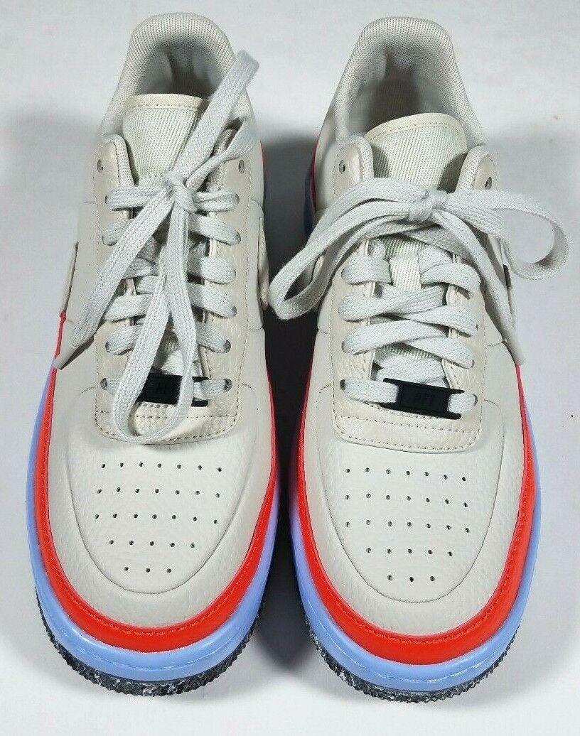 NIKE Air Force 1 Bone Ivory orange bluee Leather Jester Sneakers - size 8.5