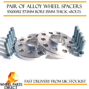 Wheel-Spacers-15mm-2-Spacer-Kit-5x100-57-1-Bolts-for-VW-Golf-Mk4-97-05