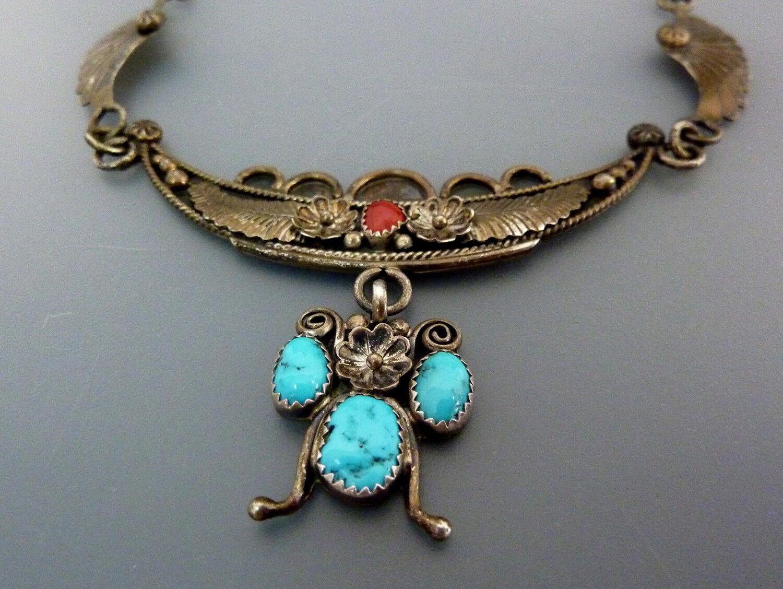 VINTAGE gioielli indiani Navajo JJ COLLIER COLLANA CORALLO TURCHESE 925er 925er 925er argentoO 6d6e44