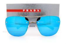 New Prada Sport  Sunglasses PS 52RS ZVN/5M2 Gold/Grey with Blue Mirror  Men