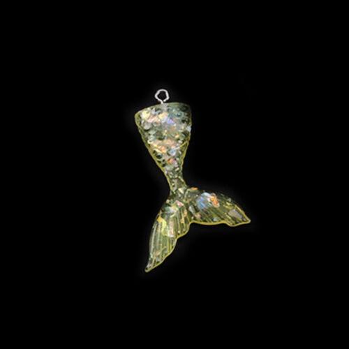 43*20mm 2//10 Pcs Mixed Glitter Mermaid Fish Tails Flatback Resin Cabochon Craft