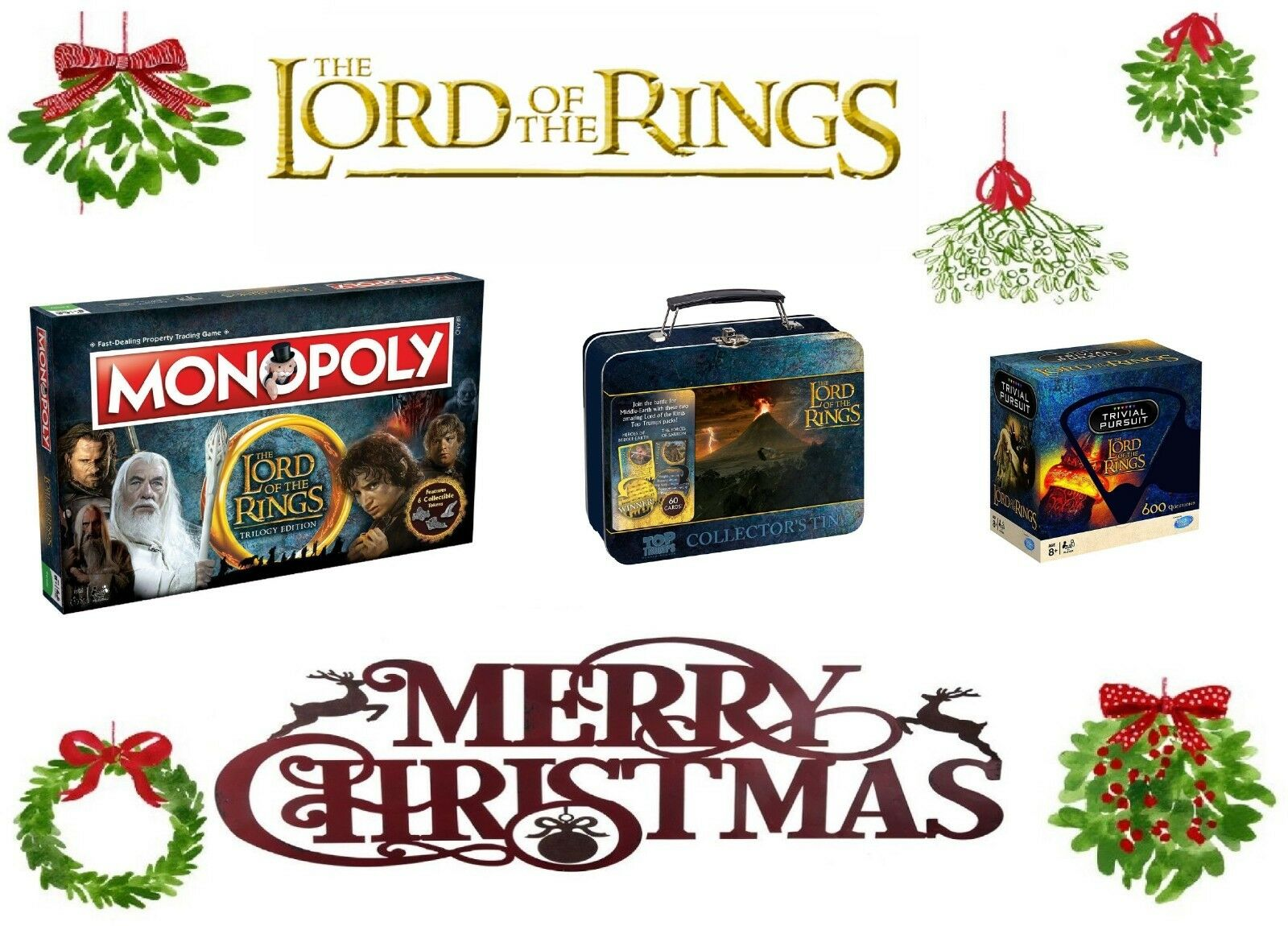 Lord Of The Rings - Trivial Pursuit / Monopoly / TT Tin - 2018/2019 XMAS Gift
