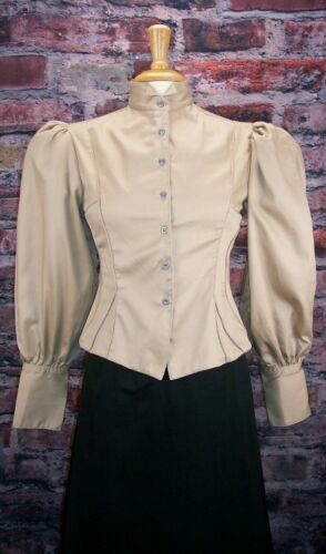 Edwardian Blouses, Ladies White & Black Lace Blouses Old West Blouse Steampunk Dickens $39.95 AT vintagedancer.com