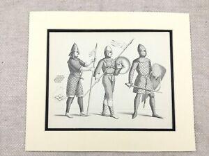 Vintage-Costume-Stampa-Norman-Conquest-Soldier-Militare-Cavaliere-Armatura-Casco