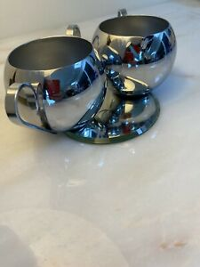 REVERE WARE Rome New York ART DECO CHROME Crème & Sucre Set