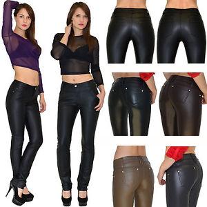 b8779edad7 Señoras de los Pantalones cuero Piel sintética Skinny jeans Pantalón ...