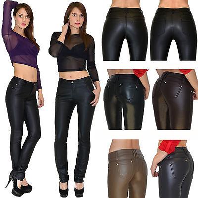 af7257f62152 Señoras de los Pantalones cuero Piel sintética Skinny jeans Pantalón Dama  en ES | eBay