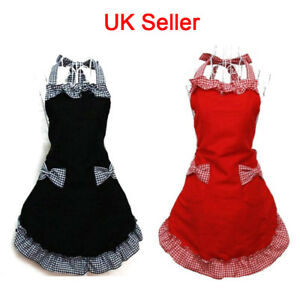 Black-Women-Ladies-Cotton-Cooking-Baking-Aprons-with-Pockets-Kitchen-Bowknot-UK