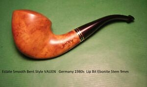 Estate Smooth Bent Style VAUEN  Germany 1980s  Lip Bit Ebonite Stem 9mm  20-971