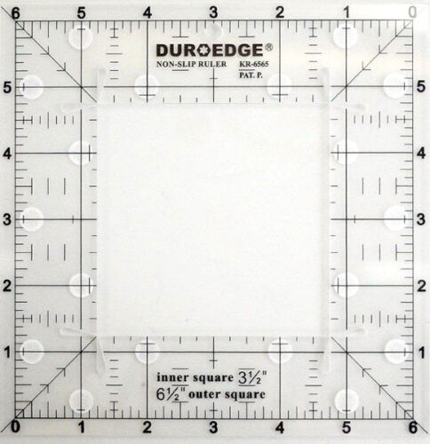 "Duroedge Non-Slip Ruler 6.5 Inch x 6.5 Inch Square Grid With 1//4/"" Seam Allowance"