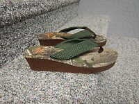 Size 10 Womens Ladies Realtree Xtra Ap Camo Flip Flops Sandals Heels