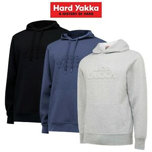 Mens-Hard-Yakka-Pull-Over-Hoodie-Embossed-Work-NEW-Winter-2019-Fleece-Y19530