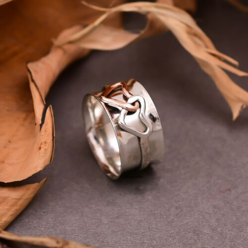 Gifts for her size all real-sterling silver 925 spinner heart anxiety ring.30