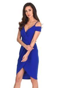 AX-Paris-Womens-Cobalt-Blue-Midi-Wrap-Dress-V-Neck-Strappy-Off-Shoulder-Ladies
