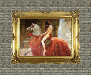 Old Master Art Oil Painting Portrait Lady Woman on Horse Canvas Unframed 30x40i