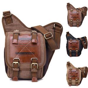 Military-Mens-Retro-Canvas-PU-Leather-Satchel-Shoulder-Messenger-Cross-Body-Bag