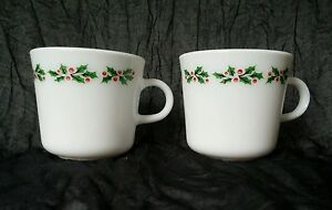 2 Corning Pyrex Holly Days Coffee Mugs Christmas Holiday