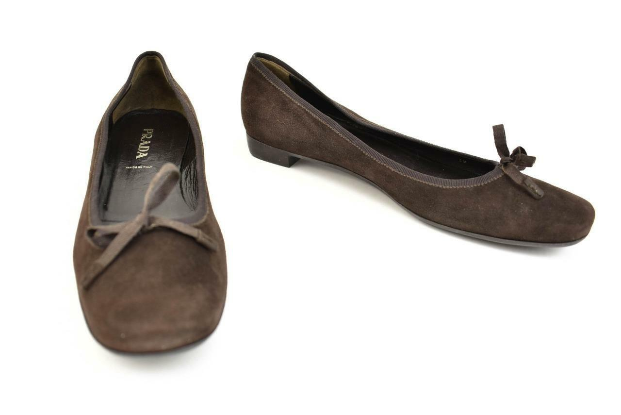 PRADA  Brown, Suede Leather & Logo Ballet Flats Flats Flats Sz  8.5M ecd1dc