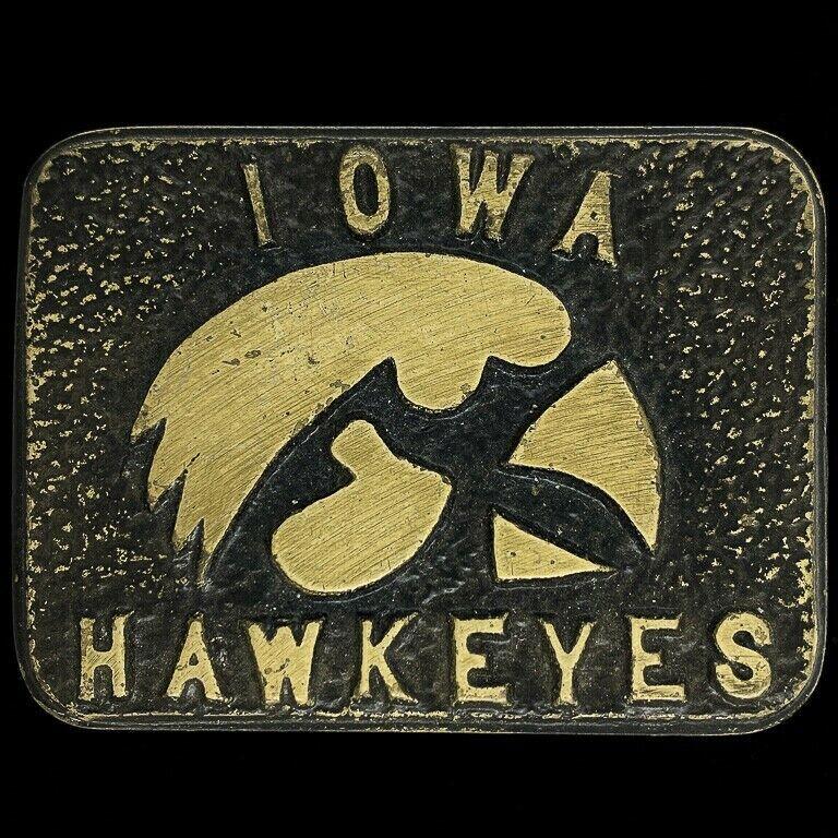 Iowa Hawks Hawkeyes University College Football Basketball Bron Vtg Belt Buckle