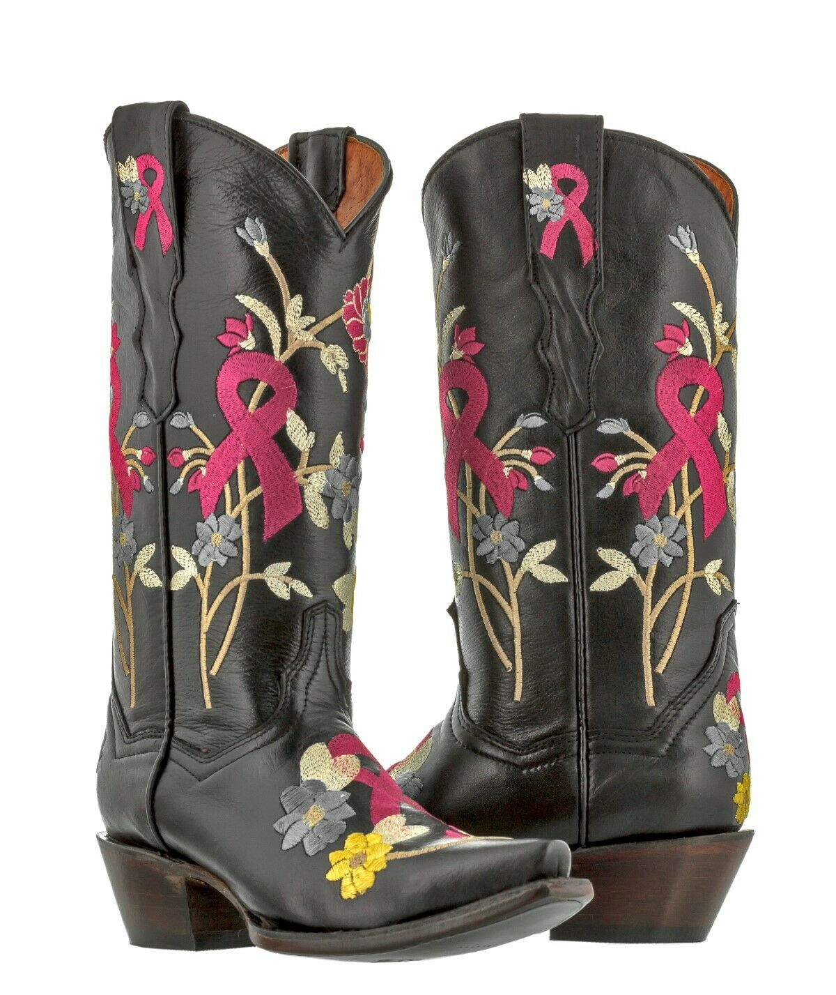 Womens Black Ribbon Breast Cancer Awareness Cowgirl Boots Western Wear Snip Toe