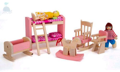 Classe rose meubles en bois Maison de Poupées Baby Nursery Set Miniature no poupées