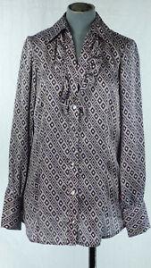 BENETTON-Geometric-Print-Front-Ruffle-Purple-Satin-Shirt-size-XS-UK-6-8