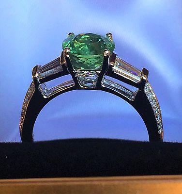 WOW!!  PLATINUM 3.10 CT. LARGE GREEN ROUND DEMANTOID GARNET & DIAMOND RING