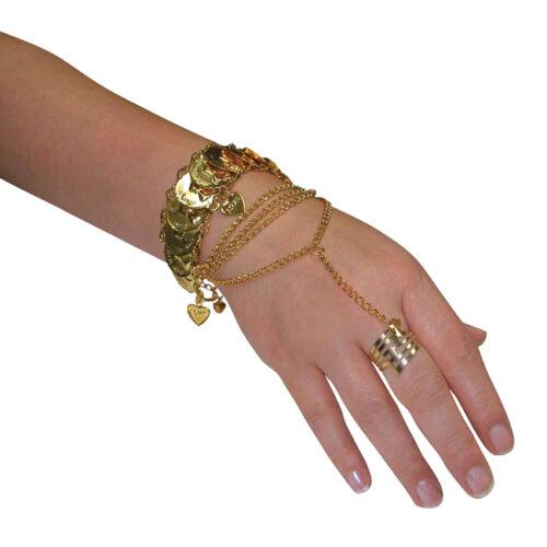 Stile Egiziano Oro A Mano bracalet Desert Principessa Costume Jewellery