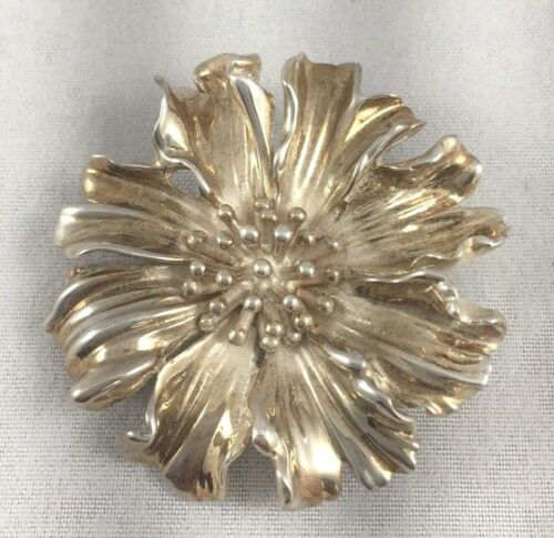 Tiffany Sterling & Enamel Marigold Pin - image 1