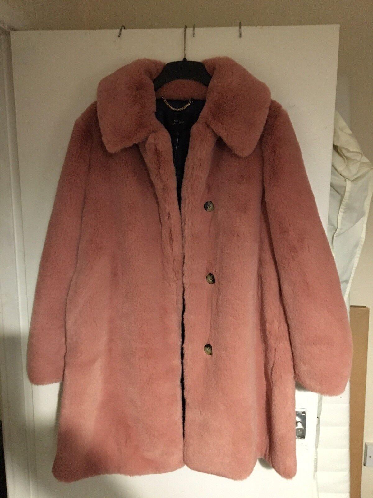BRAND NEW J.Crew Ladies Ash pink Faux Fur Coat Size L UK16 18